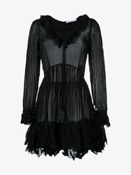 Givenchy Long Sleeved Crinkle Effect Dress Black Metallic Gold