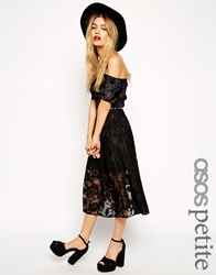 Asos Petite Sheer Lace Organza Midi Skirt Black