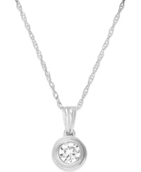 Macy's Diamond Bezel Pendant Necklace 1 5 Ct. T.W. In 14K White Gold No Color