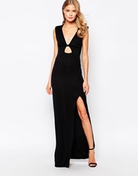 Love Maxi Dress With Cowl Back And Keyhole Front Black