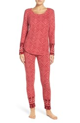 Lucky Brand Women's Print Fleece Pajamas Blaze Red Petite Shibori