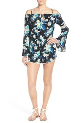 Sun And Shadow Floral Print Cold Shoulder Romper Multi