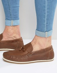 Asos Tassel Loafers In Tan Leather With Woven Detail Tan