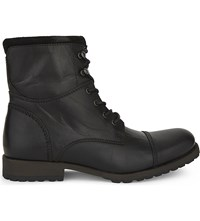 Aldo Lemond Leather Biker Boots Black Leather