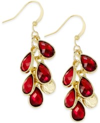 Styleandco. Style And Co. Gold Tone And Red Stone Dangle Drop Earrings Only At Macy's