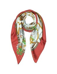 Moschino Boutique Geese And Horse Saddles Printed Twill Silk Square Scarf Red