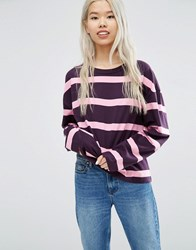 Weekday Stripe Panel Long Sleeve T Shirt Purple Pink Multi