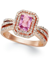 Macy's 14K Rose Gold Ring Pink Sapphire 1 1 10 Ct. T.W. And Diamond 1 2 Ct. T.W. Ring