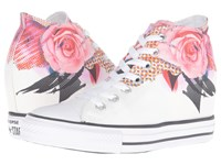 Converse Chuck Taylor All Star Lux Digital Floral Print Mid White Pink Black Women's Lace Up Casual Shoes
