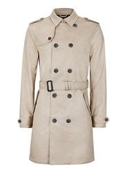 Topman Brown Stone Trench Coat