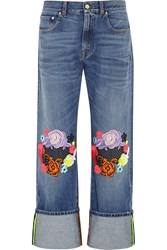 Christopher Kane Guipure Lace Appliqued Boyfriend Jeans Blue