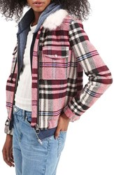 Women's Topshop Check Bomber With Faux Fur Collar