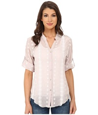 Dylan By True Grit Roll Sleeve Embroidered Shirt Pale Grey Women's Long Sleeve Button Up Gray