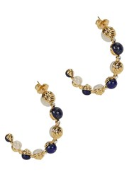 Isharya Serpent Orb Gold Plated Lapis Hoop Earrings Blue And White