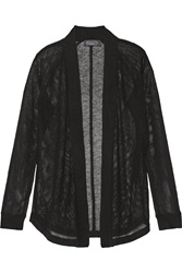 Magaschoni Open Knit Cashmere Cardigan Black