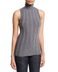 Derek Lam Sleeveless Turtleneck Striped Sweater Gray Women's Size Large