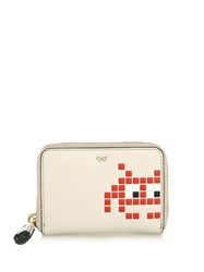 Anya Hindmarch Space Invader Zip Around Coin Purse White Multi