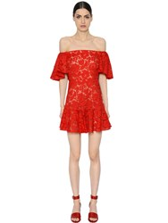 Valentino Off The Shoulder Heavy Lace Flared Dress