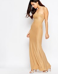 Ax Paris Maxi Dress In Slinky With Notch Front Beige