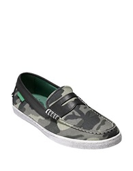Cole Haan Pinch Weekender Canvas Penny Loafers Green