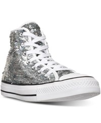 Converse Women's Chuck Taylor High Top Holiday Sparkle Casual Sneakers From Finish Line Silver White Black