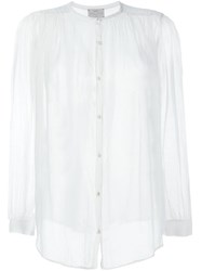 Forte Forte Collarless Sheer Shirt White