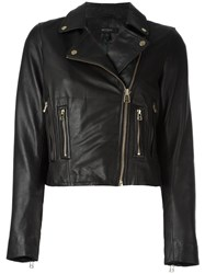 Muubaa Cropped Leather Jacket Black