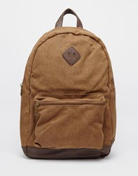 New Look Backpack In Canvas With Faux Leather Trim Stone