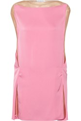 Vionnet Tulle Paneled Stretch Silk Tunic Pink