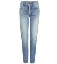 Saint Laurent High Waisted Skinny Jeans Blue