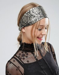 Asos Metallic Brocade Turban Headband Gold