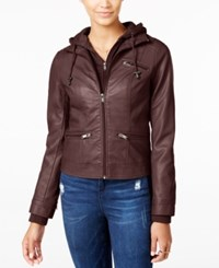 American Rag Knit Hood Faux Leather Jacket Only At Macy's Burgundy