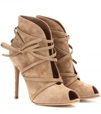 Gianvito Rossi Mytheresa.Com Exclusive Suede Open Toe Ankle Boots Beige