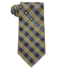 Eagles Wings Milwaukee Brewers Checked Tie Navy Gold