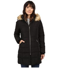 Ivanka Trump Down Coat With Cinched In Sides And Faux Fur Hood Black Women's Coat