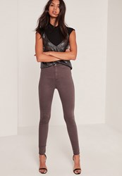 Missguided Brown High Waisted Skinny Jeans Chocolate