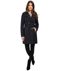 Michael Michael Kors Double Breasted Belted Trench With Removable Warmer M722325t Navy Women's Coat