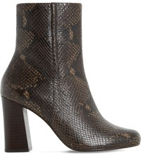 Dune Osmond Reptile Effect Leather Ankle Boots Brown Reptile