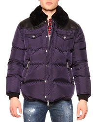 Dsquared Puffer Jacket W Shearling Fur Collar Navy