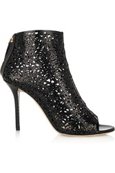 Emilio Pucci Cutout Snake Effect Leather Ankle Boots Black