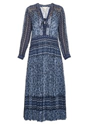 Rebecca Taylor Paisley Print Silk And Cotton Blend Midi Dress