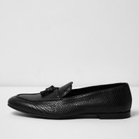 River Island Mensblack Lizard Leather Tassel Loafers