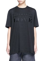 Givenchy 'Power Of Love' Slogan Embroidered Cotton T Shirt Black