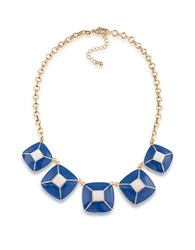 1St And Gorgeous Enamel Pyramid Pendant Statement Necklace In Blue White Gold