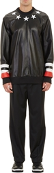 Givenchy Star Applique Leather And Fleece Sweatshirt Black