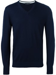 Joseph Patched Elbow Jumper Blue