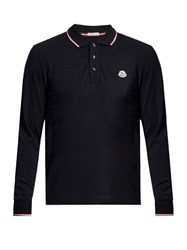 Moncler Long Sleeved Cotton Polo Shirt Navy