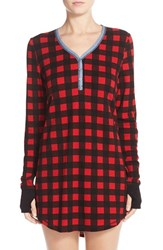 Women's Pj Salvage Thermal Knit Sleep Shirt Red Buffalo Check