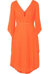 Halston Heritage Cutout Plisse Georgette Dress Bright Orange