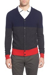 Ag Jeans Men's Ag 'Admiral' Colorblock Mercerized Wool And Cashmere Cardigan Naval Blue